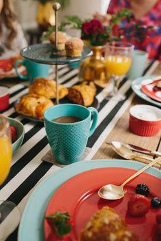 Textured Mugs + Gold Flatware + Mint Dinnerware from west elm