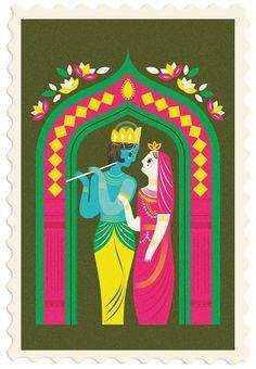 grain edit, indian illustration, krishna, pigeon post, india etsy art, art inspired by india, paint, eye, radha