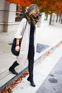 SWEATER C/O CALYPSO ST. BARTH/TOP C/O SHOP SOSIE/DENIM C/O JBRAND/BOOTS C/O STUART WEITZMAN/SNOOD NORDSTROM Scarf And Boots, Leopard Scarf, Long Snoods, Cardigan Long, Cozy Sweaters, Outfits With Long Cardigans, Leopard Prints, Long Outfits, Leopard Cardigan Outfit