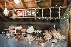 Minnesota Barn Wedding Dessert Table. Exactly what I want, but with doughnuts and pies