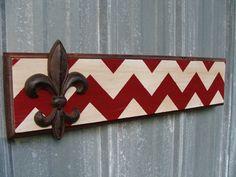Chevron Sign with Cast Iron Fleur de' Lis by TreyColeCreations, $40.00...We could do purple