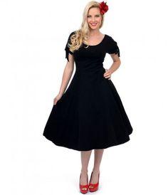 Say hello to your secret #lbd weapon! The Unique Vintage Black Bow Sleeve Dress #unqiuevintage