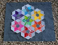 english paper piecing, star flower, epp hexagon