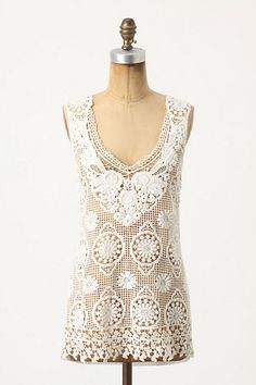 Lace Medallions Tank #anthropologie  Very pretty