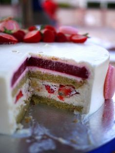 Strawberry Pistachio Mascarpone Mousse Cake recipe
