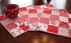 Christmas,Valentines, and even Fourth of July placemats---love the bowls.