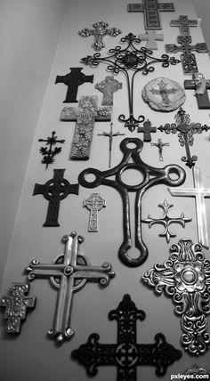 a wall of crosses, cross wall decor ideas, cross 94, crosses wall, cross collect, wall cross decor, cross walls