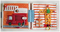 craft books, quiet books, book pages, fire truck, felt books, fabric books, books for kids