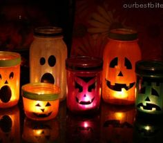 Mason Jar Lanterns:  With Mod Podge and tissue paper, you can create a colorful display of faces that are silly or scary.