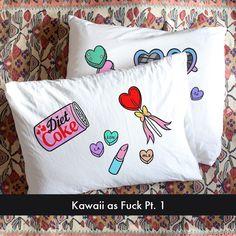bedding, badgirl kawaii, pillow case, bei badgirl, caitlin shearer, kawaii pillow, art pillow, sweet dreams, pillows