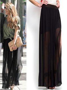 Falda larga semitransparente by Mango