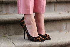 leopard pumps and pink pants