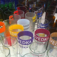Recycled liquor and beer bottles turned into jumbo tumblers and drinking cups