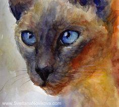 SIAMESE Watercolor Cat