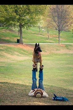 A man and his dog.