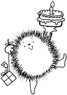 hedgehog, happy birthdays, color, pennies, digi art, digi stamp, penny black, penni black, birthday cakes