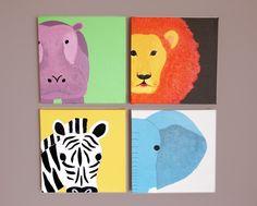 PLAYROOM Safari animal canvas wall art for nursery. Zoo jungle african animal decor for baby, children & kids room playrooms (not prints).