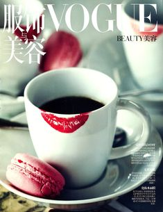 Fashion coffee lipsticks, cup, vogue, kiss, diari, macaroon, red lips, beauty, mornings
