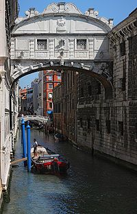 The view from the Bridge of Sighs was the last view of Venice that convicts saw before their imprisonment. The bridge name, given by Lord Byron in the 19th century, comes from the suggestion that prisoners would sigh at their final view of beautiful Venice out the window before being taken down to their cells.