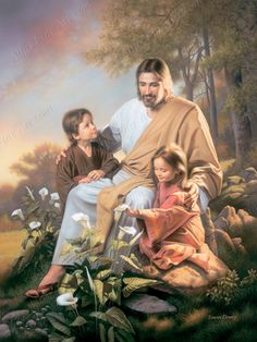 """Consider the Lilies  """"Yet Solomon in all his glory was not arrayed like one of these."""" ~ Luke 12:27  Pictures of Jesus with Children by Simon Dewey 