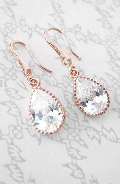 Rose Gold Cubic Zirconia Teardrop Earrings gifts