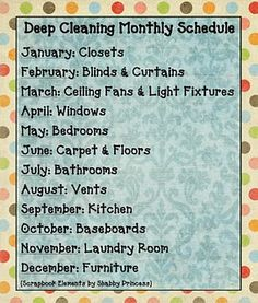 Deep cleaning schedule. I should do this.