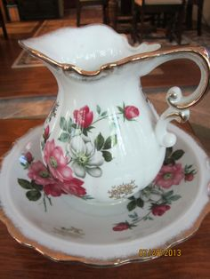 Vintage china pitcher and wash basin by MovieMaven on Etsy, $18.50