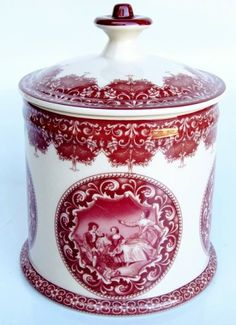 Red Transferware Toile Porcelain Tea Humidor Caddy Jar
