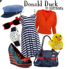 . disney outfits, donaldduck, donald duck, cloth, dresses, the dress, disneybound, fashion looks, rubber ducks