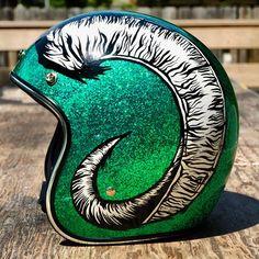 Biltwelll Inc Bonanza helmet in green metalflake with ram horns painted by Doug of Mucho Moto