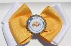 Yellow and White Fish Inspired Hair Bow Guppies by bowsforme, $6.99