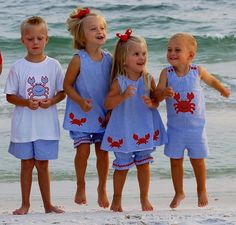 LOVE the dresses and bloomers, and the romper would be cute on a BABY boy, but I feel bad for the big kid in the seersucker shorts. O.o #baby #summer