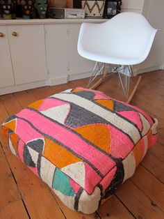 Vintage kilim pouf / ottoman / foot stool