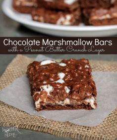Chocolate Marshmallow Bars with a Peanut Butter Crunch Layer