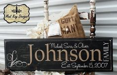 Distressed wooden family name sign with No vinyl!  Love it!