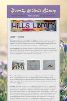 February 2014 newsletter at Hills Elementary School Library in Iowa.