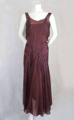 Circa 1930 aubergine silk chiffon with lace inserts Evening Dress by Marcelle André.