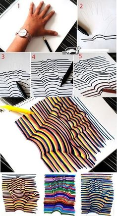 optical illusions, hand drawings, hand prints, hand crafts, 3d drawings, op art, hand art, line art, art projects