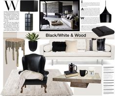 """Black/White & Wood"" by helenevlacho on Polyvore"