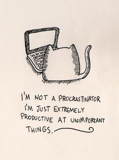 I'm not a procrastinator I'm just extremely productive at unimportant things