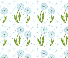 Dandelion Delirium-Light Blue fabric by mayabella on Spoonflower - custom fabric