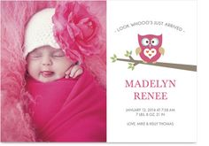 Pink Owl Girl Photo Birth Announcement
