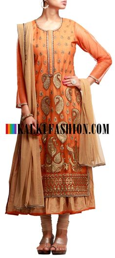 Buy it now  http://www.kalkifashion.com/a-line-suit-in-orange-with-gold-zari-work.html  A-line suit in orange with gold zari work