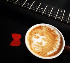 Jimi Hendrix Latte Art - Mike Breach, a barista at a Manhattan hotel, began experimenting with creating drawings on the top of lattes while at work. Click the photo to view more coffee art. manhattan hotel, food art