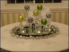 ... christmas kitchen, christmas centerpieces, green christmas, seasonal decor, bulb, white christmas, christma tablescap, holiday centerpiec, candlestick