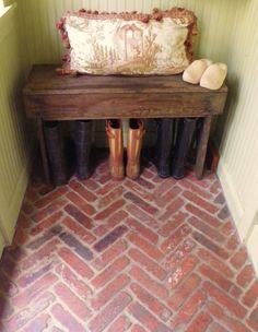 mudroom, bench, floor, dream homes, mud rooms, laundry rooms, back porches, herringbon brick, entryway
