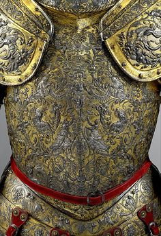Armor of Henry II of France (Front),  Date: about 1555, Culture: French, possibly Paris Medium: Steel, embossed, blued, silvered, and gilt