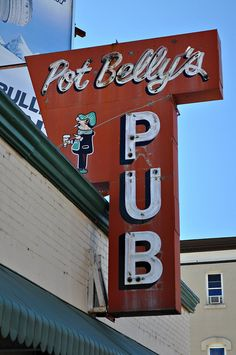 Pot Belly's Pub ~ Old Neon Sign. Indian Orchard, Massachusetts
