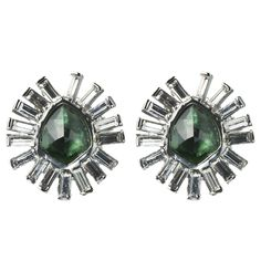 Bel Air Rhodium Hydro Qtz Green Tourmaline Starburst Post Earring::View All::Sale::Alexis Bittar