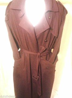 Carole Little All weather Trench Coat, Size 12, Burgundy